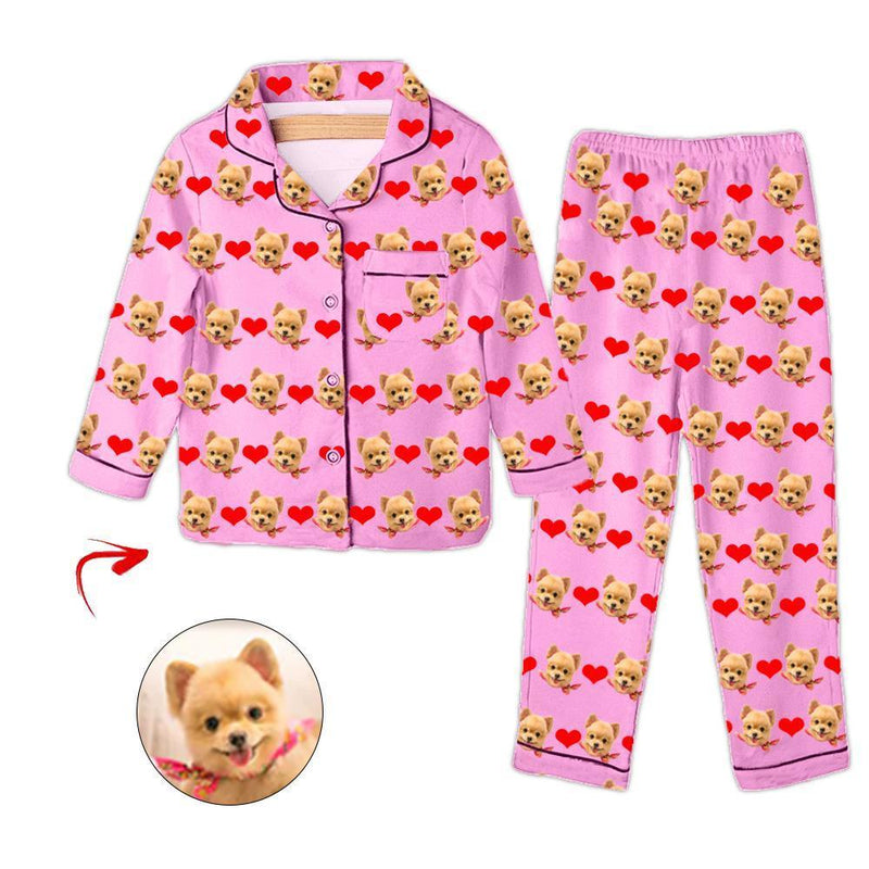 Custom Photo Kid's Pajamas Heart I Love My Dog Champagne