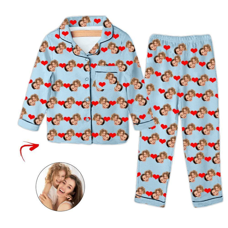 Custom Photo Kid's Pajamas Heart Happy Mother's Day White