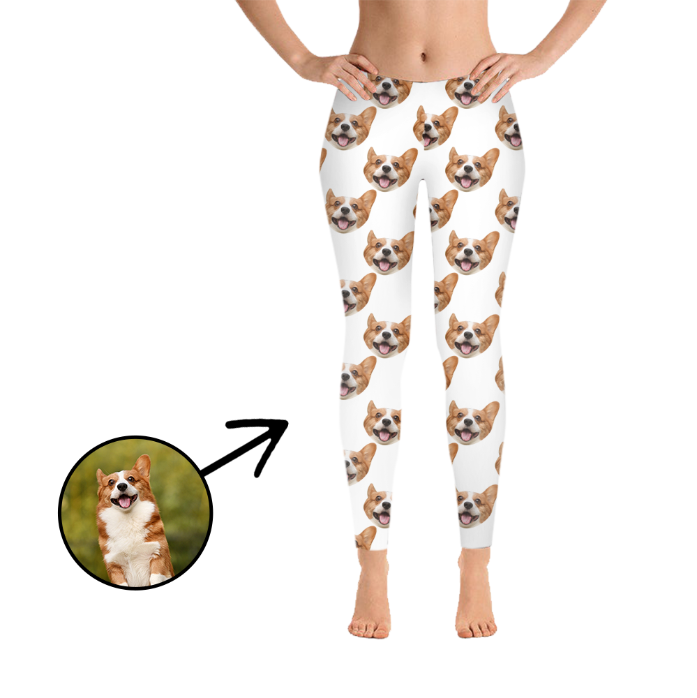 Custom Photo Leggings I Love My Dog White