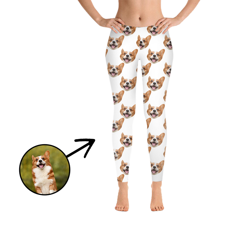 Custom Photo Leggings Dog Footprint Pink