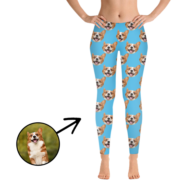 Custom Photo Leggings I Love My Dog Light Blue