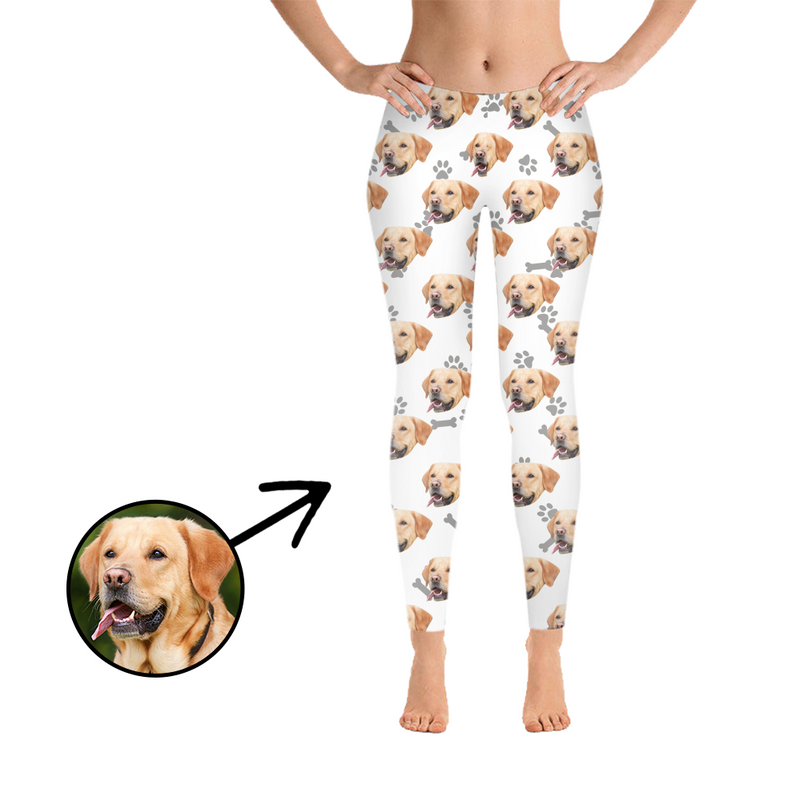 Custom Photo Leggings Dog Footprint Grey