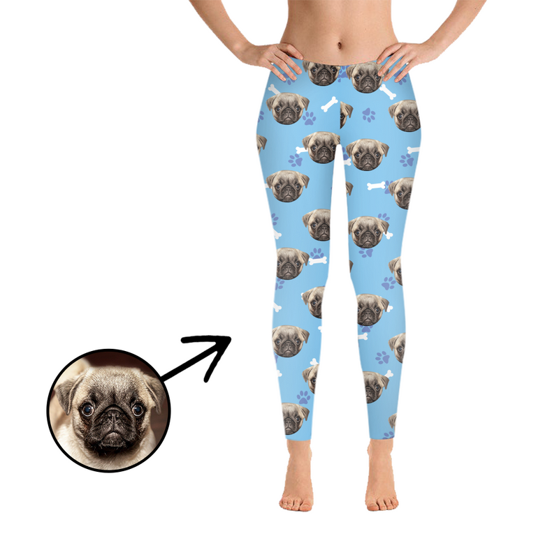 Custom Photo Leggings Dog Footprint Blue