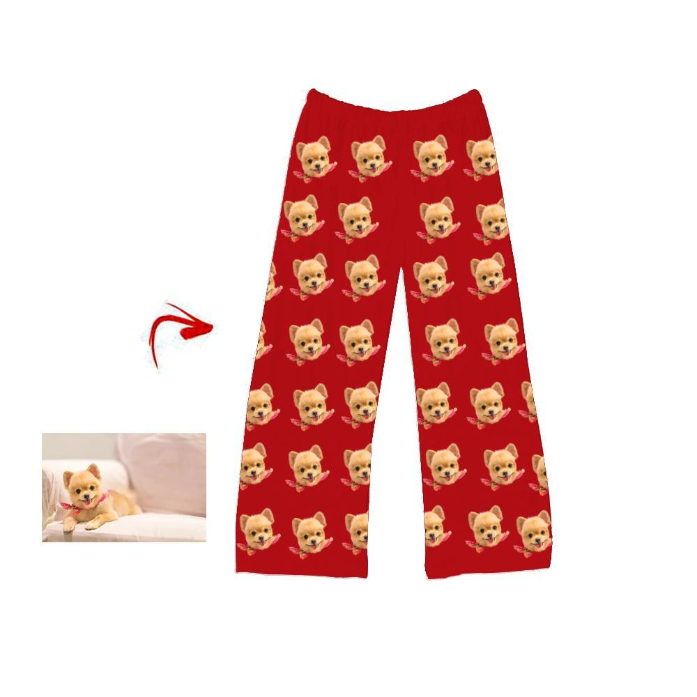Custom Photo Pajamas Pants I Love My Dog Red For Men