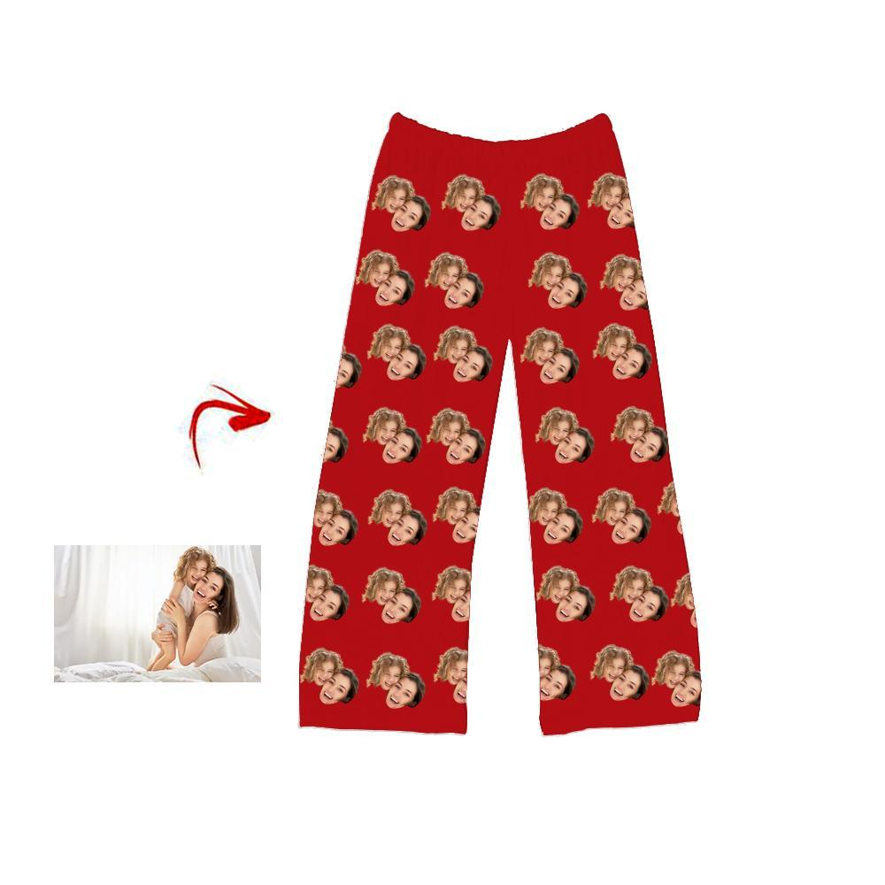 Custom Photo Pajamas Pants I Love My Mom Red For Men