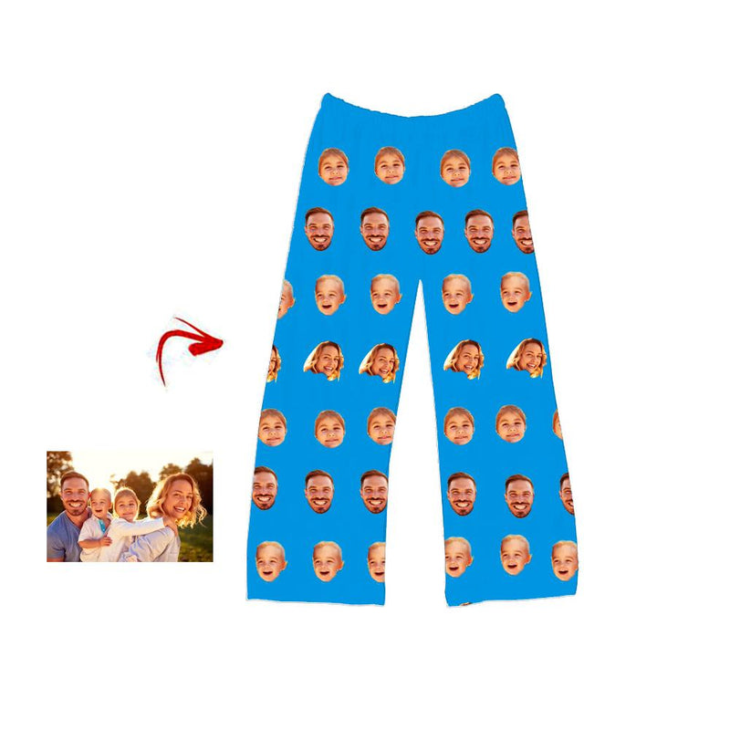 Custom Photo Pajamas Pants I Love My Family Blue For Men