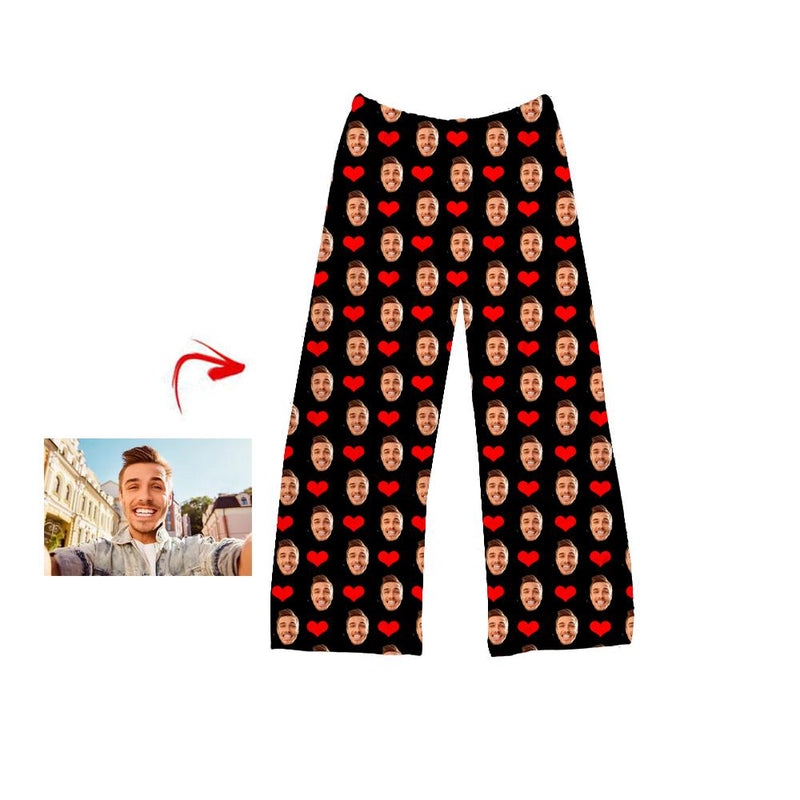 Custom Photo Pajamas Pants Heart I Love My Husband White