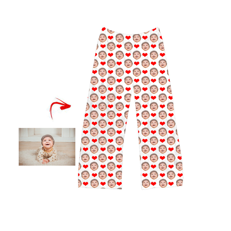 Custom Photo Pajamas Pants Heart I Love My Baby Grey For Men