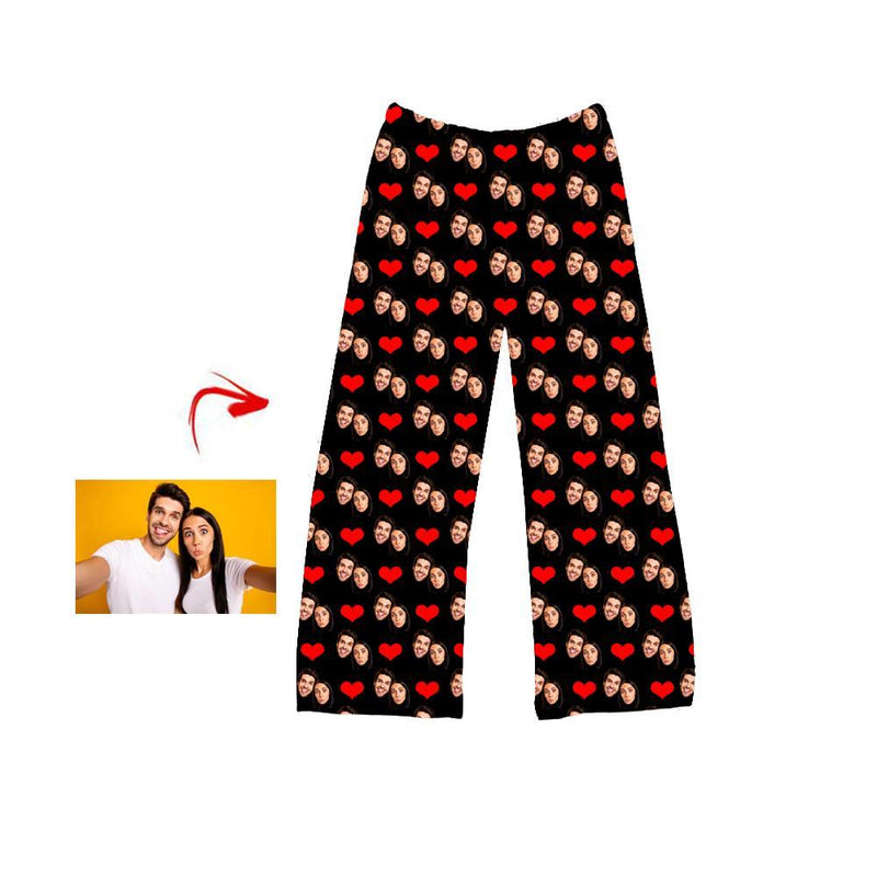 Custom Photo Pajamas Pants Heart Happy You And Me Black For Men