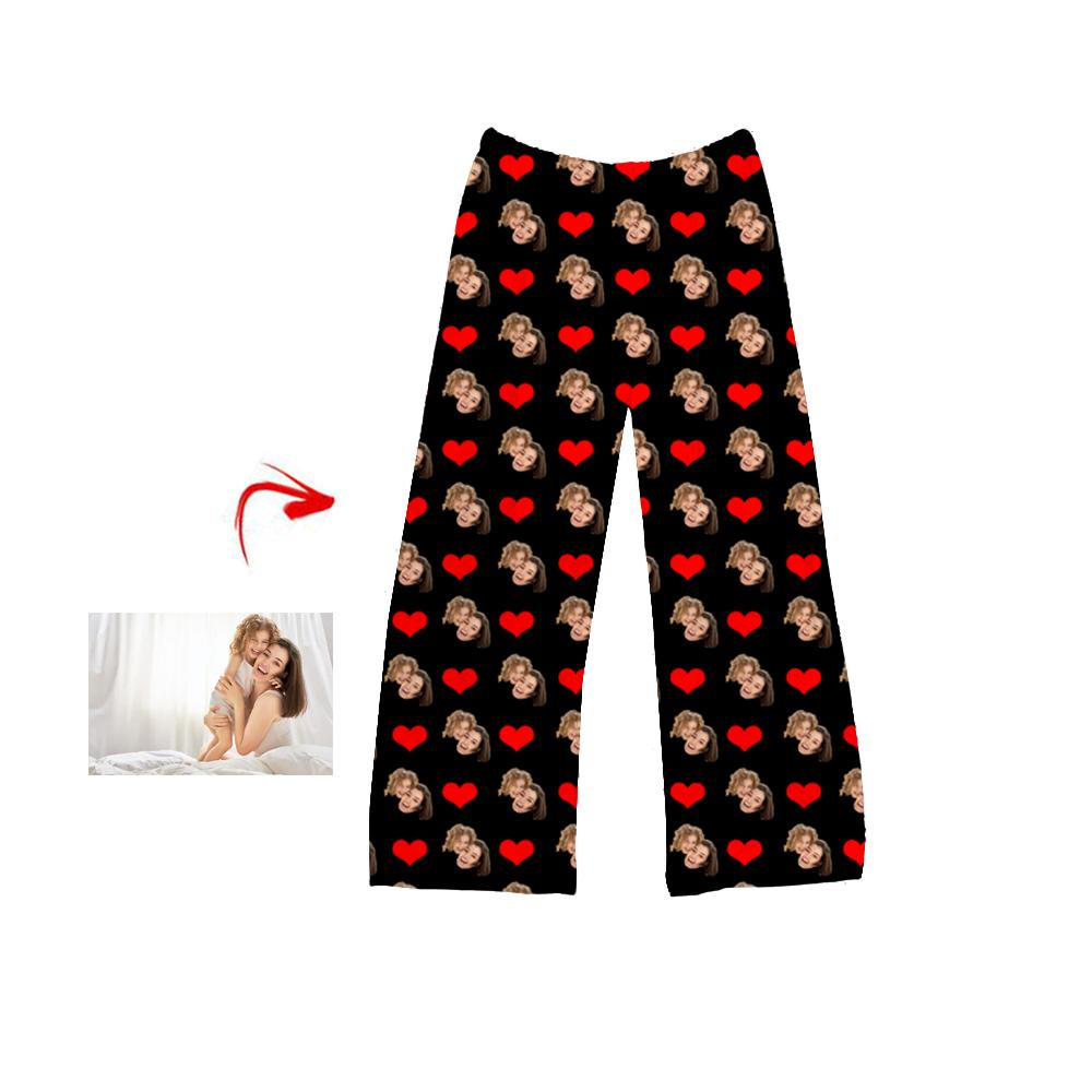 Custom Photo Pajamas Pants Heart Happy Mother's Day Black