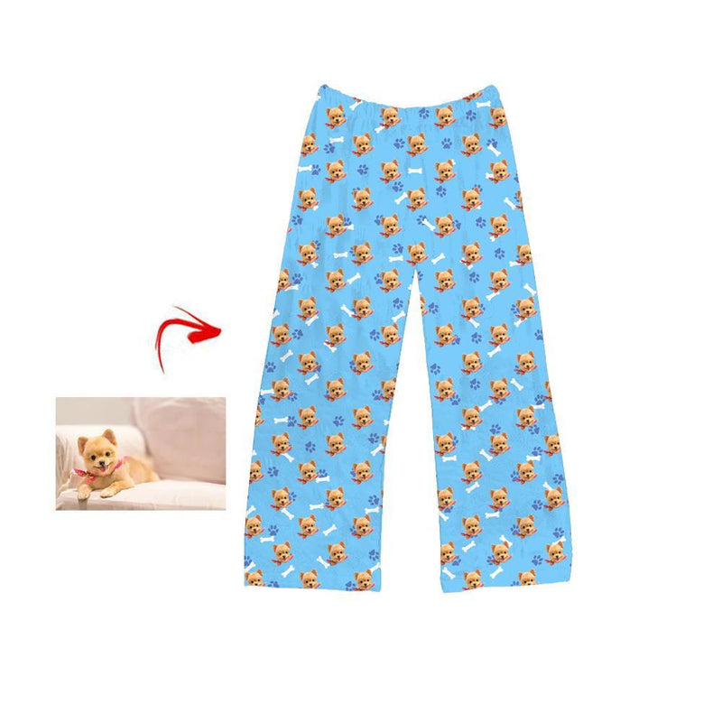 Custom Photo Pajamas Pants For Women Funny Mash Face Long Sleeve