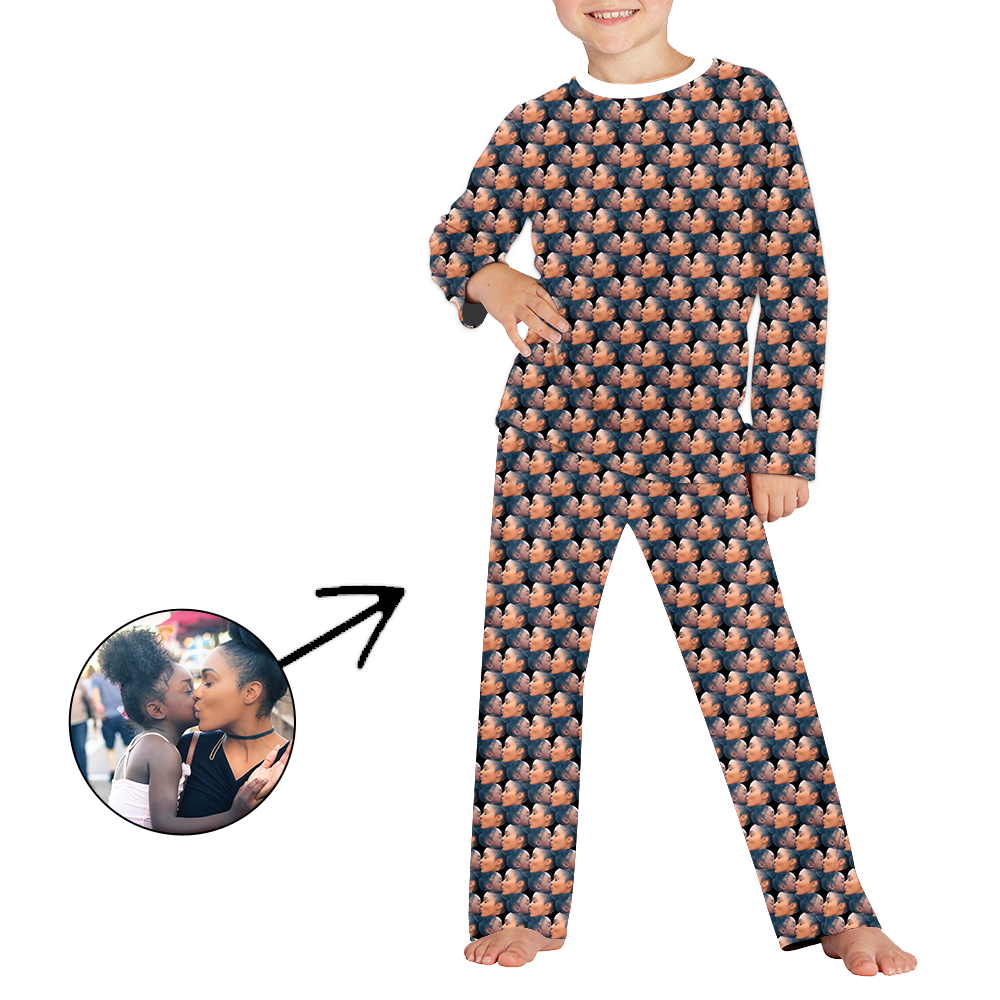 Custom Photo Pajamas For Kids Mash Face Long Sleeve