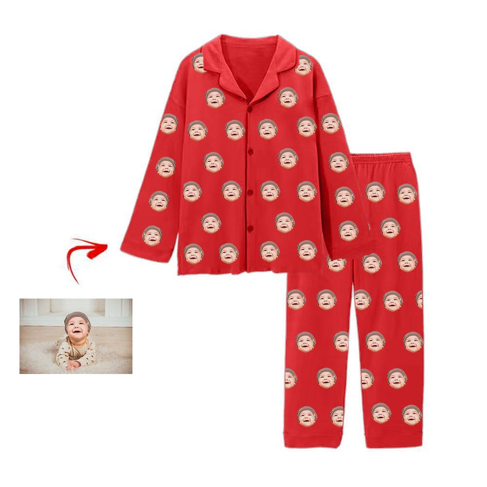 Custom Photo Pajamas I Love My Baby Red