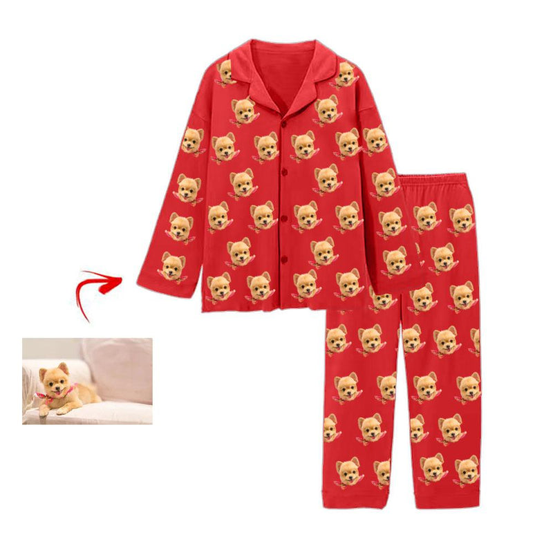 Custom Photo Pajamas I Love My Dog Red