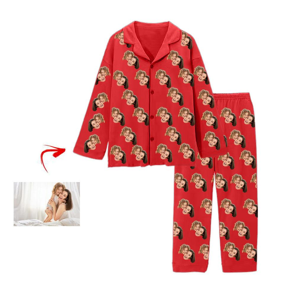 Custom Photo Pajamas I Love My Mom Red