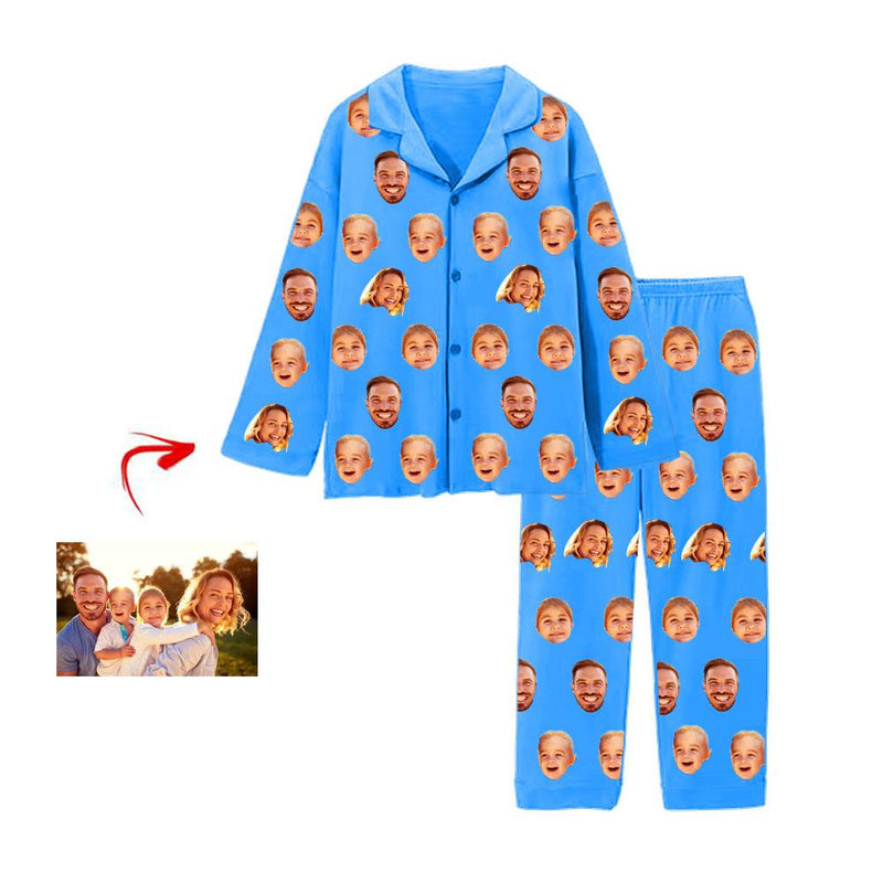 Custom Photo Pajamas Pants I Love My Family Blue