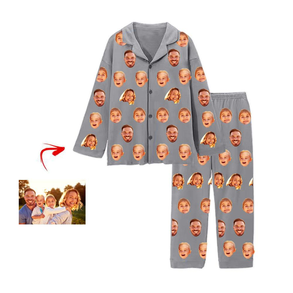 Custom Photo Pajamas I Love My Family Grey