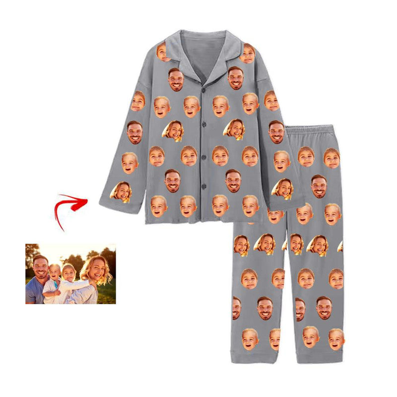 Custom Photo Pajamas Father's Day Gift Blue