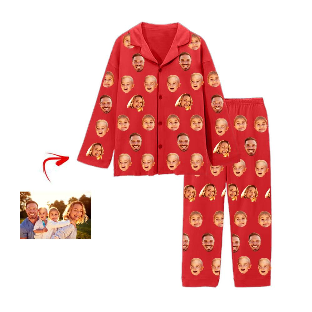 Custom Photo Pajamas I Love My Family Red