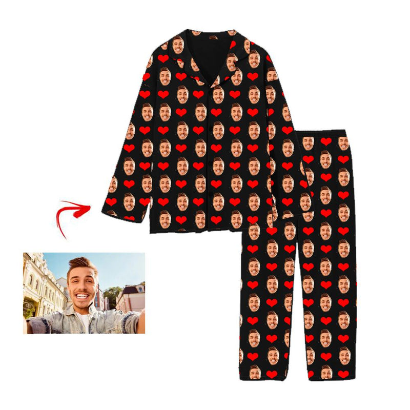 Custom Photo Pajamas Heart I Love My Family Black