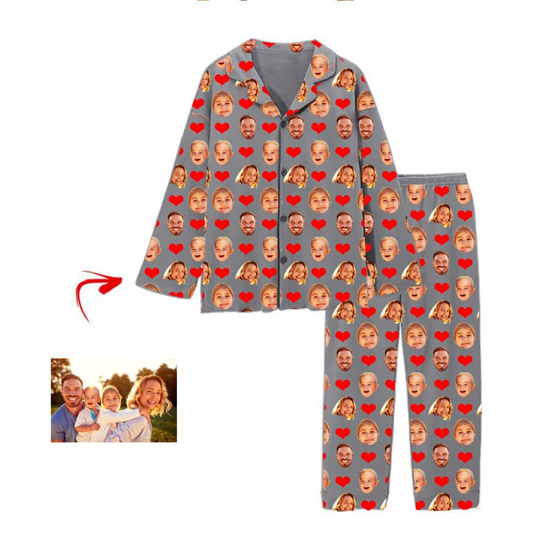Custom Photo Pajamas Heart Happy You And Me Grey