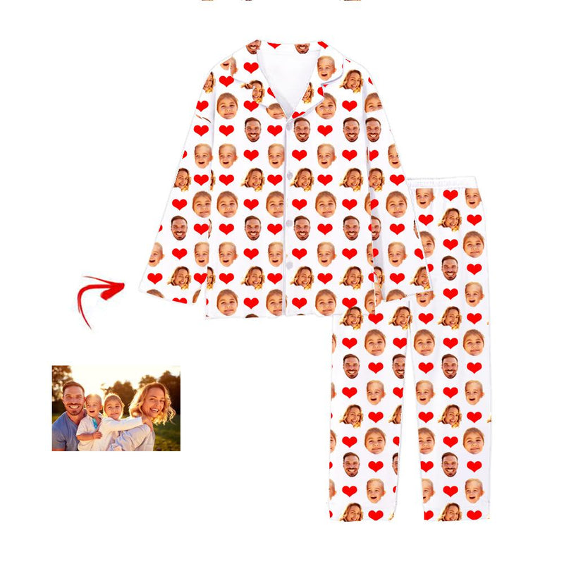Custom Photo Pajamas Heart I Love My Family Grey