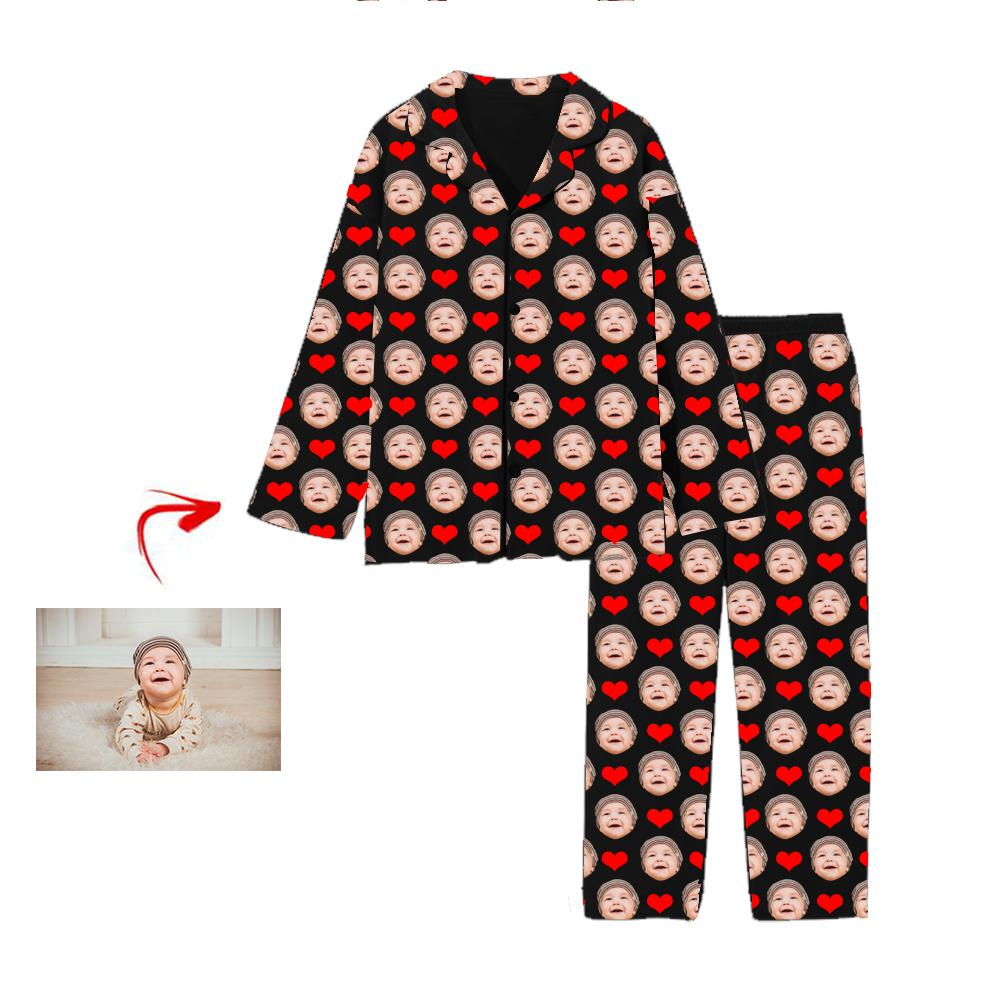 Custom Photo Pajamas Heart I Love My Baby Black