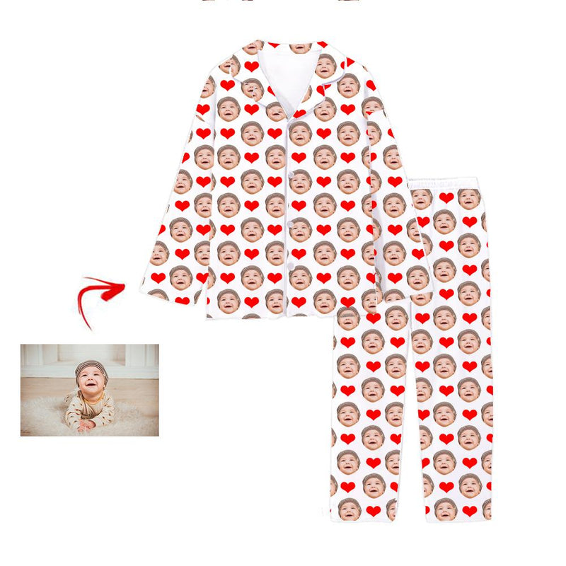 Custom Photo Pajamas Heart I Love My Family White