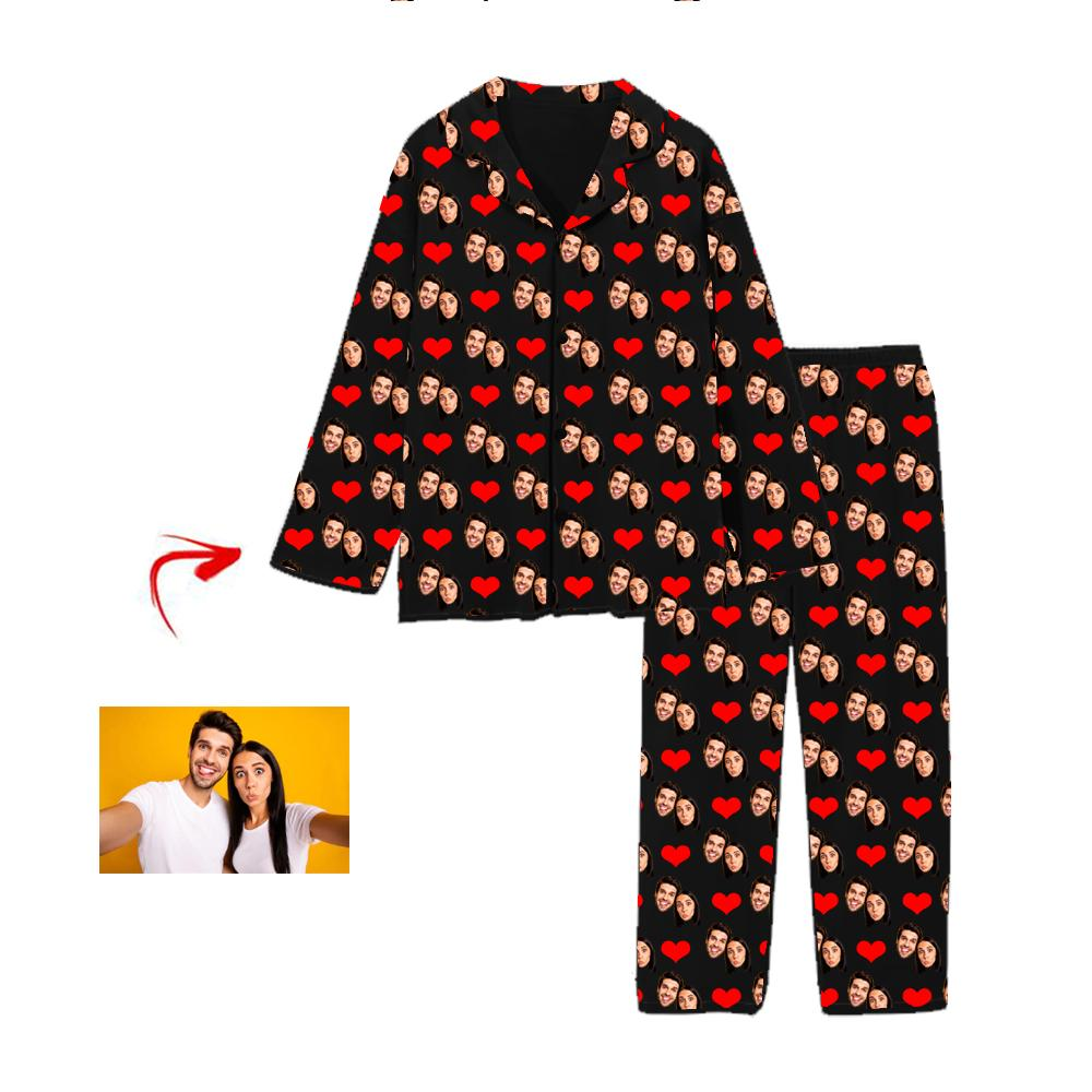 Custom Photo Pajamas Heart Happy You And Me Black