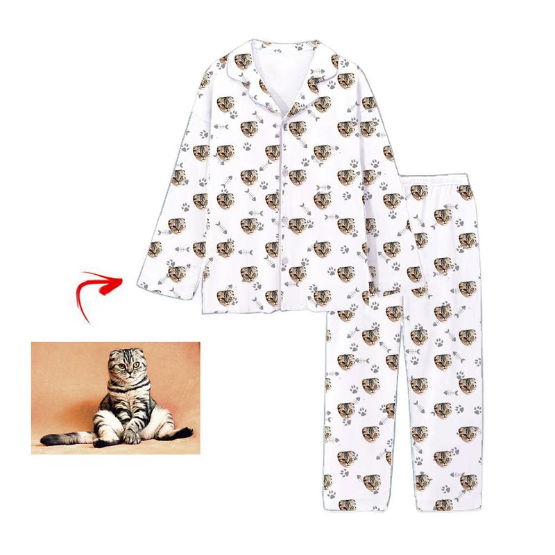 Custom Photo Satin Pajamas Dog Footprint Champagne