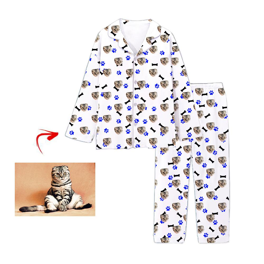 Custom Photo Pajamas Cat Footprint With Bone