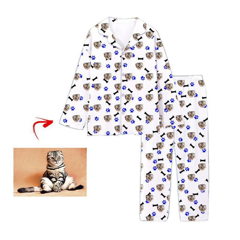 Custom Photo Pajamas Dog Grey Footprint