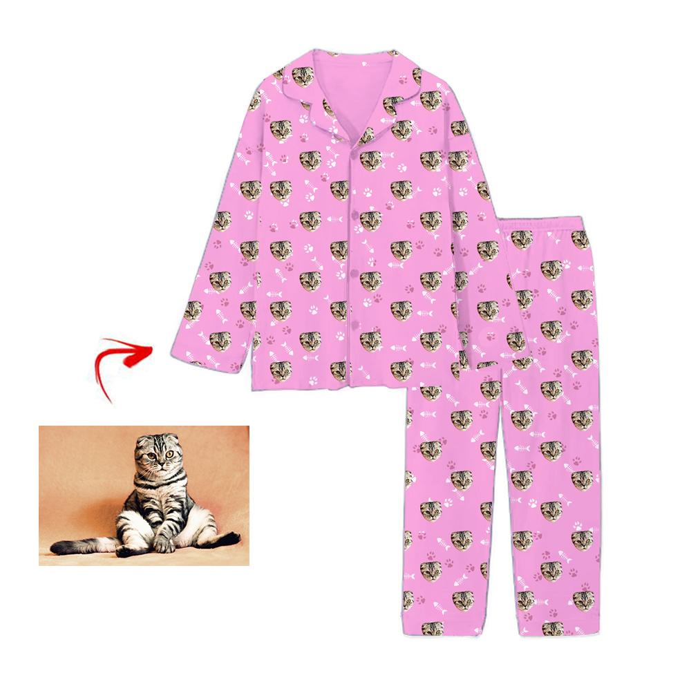 Custom Photo Pajamas Cat Footprint Pink