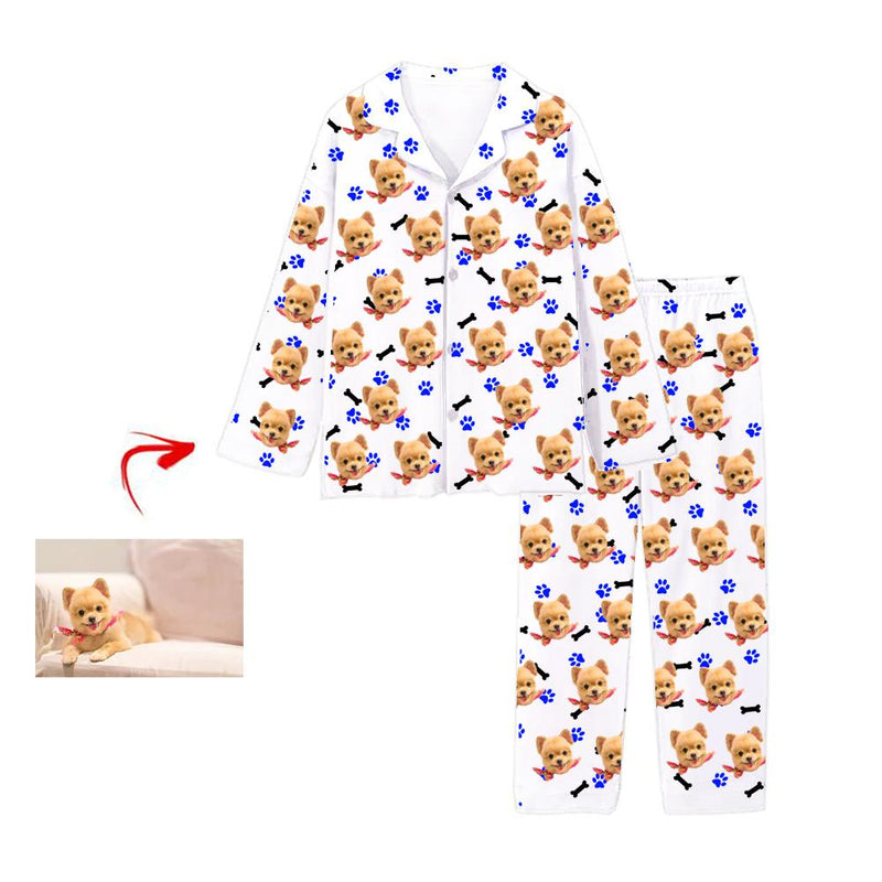Custom Photo Pajamas Dog Blue Footprint