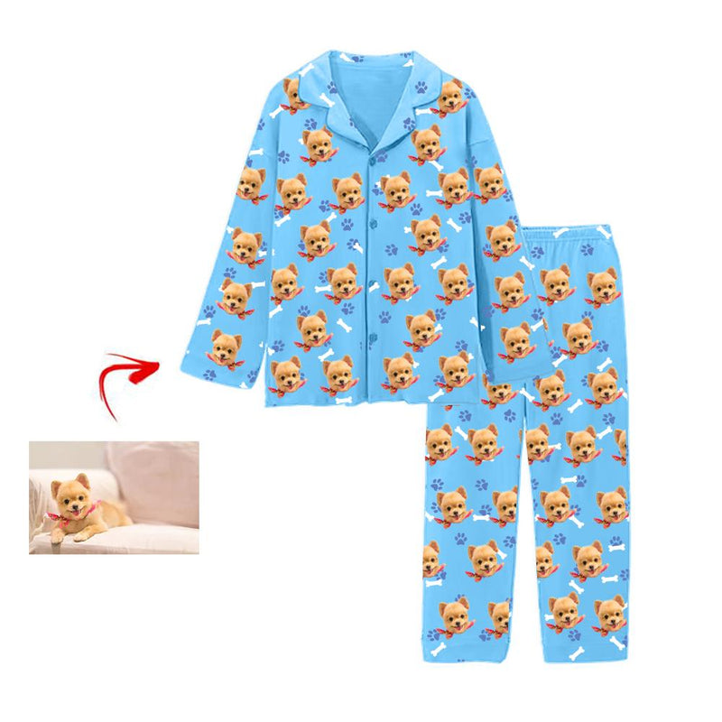 Custom Photo Satin Pajamas Heart I Love My Dog Pink