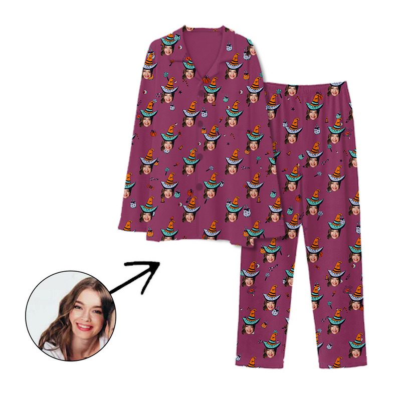Custom Photo Pajamas Happy Halloween Purple
