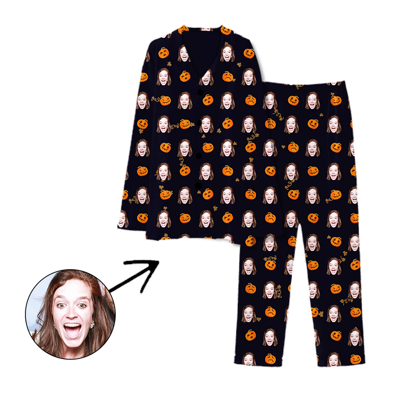 Custom Photo Pajamas Halloween Pumpkin Dark Green