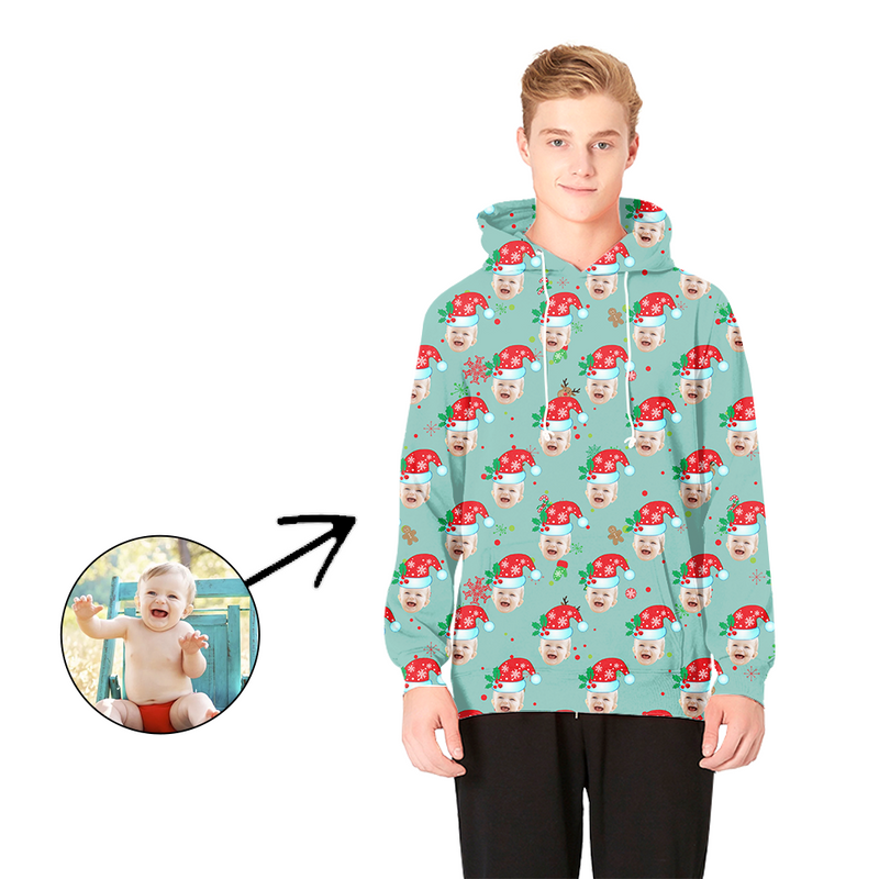 Custom Photo Hoodies Christmas Hat And Gingerbread Man