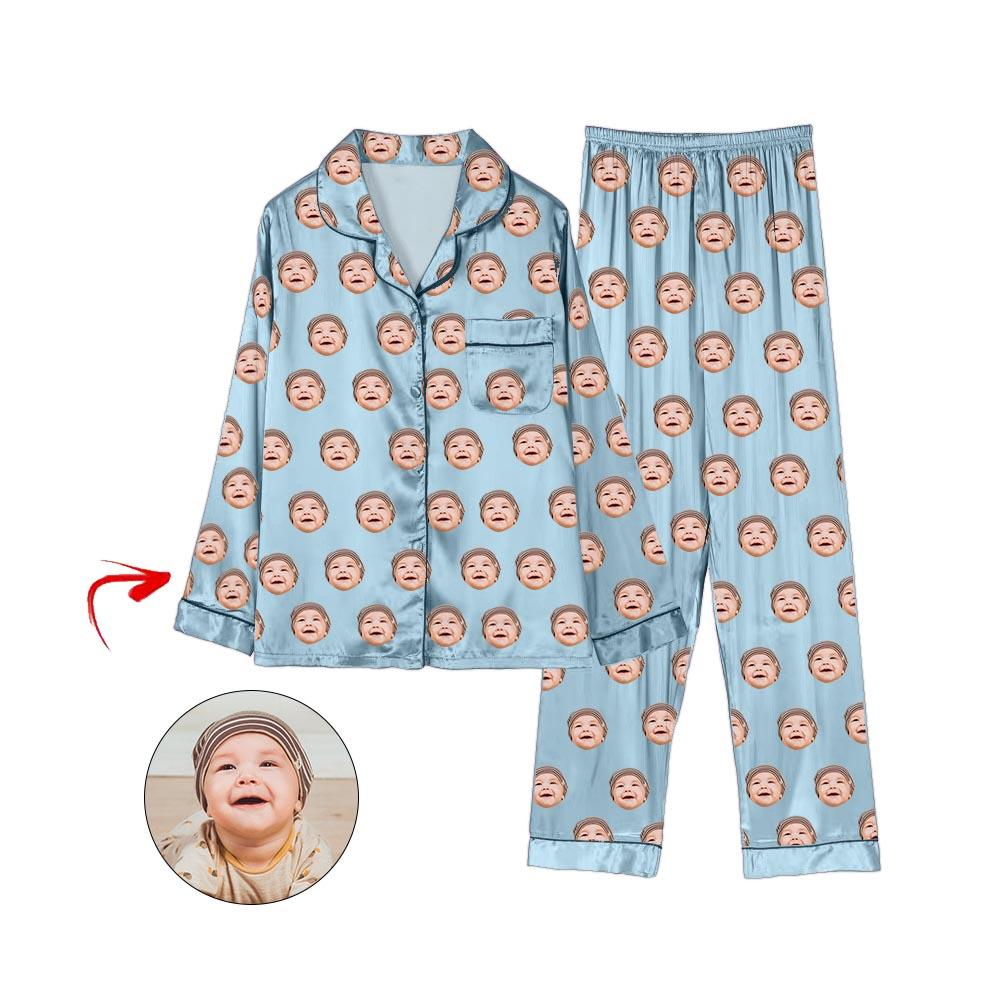 Custom Photo Satin Pajamas I Love My Baby Light Blue