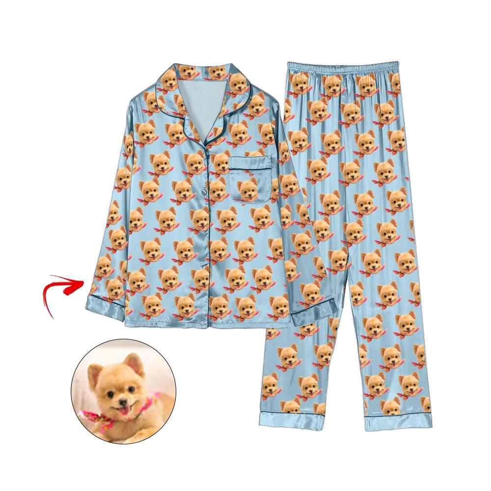 Custom Photo Satin Pajamas I Love My Dog Light Blue
