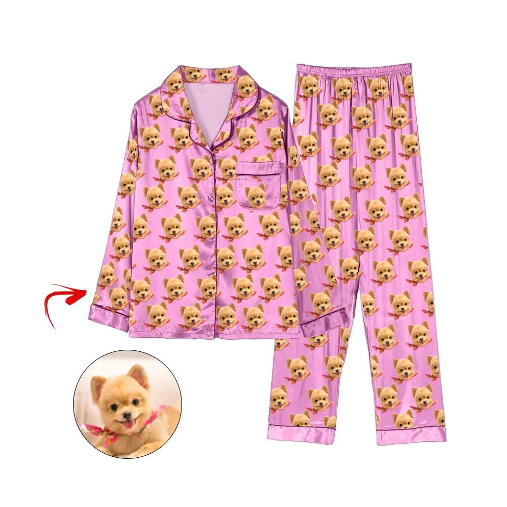 Custom Photo Satin Pajamas I Love My Dog Pink
