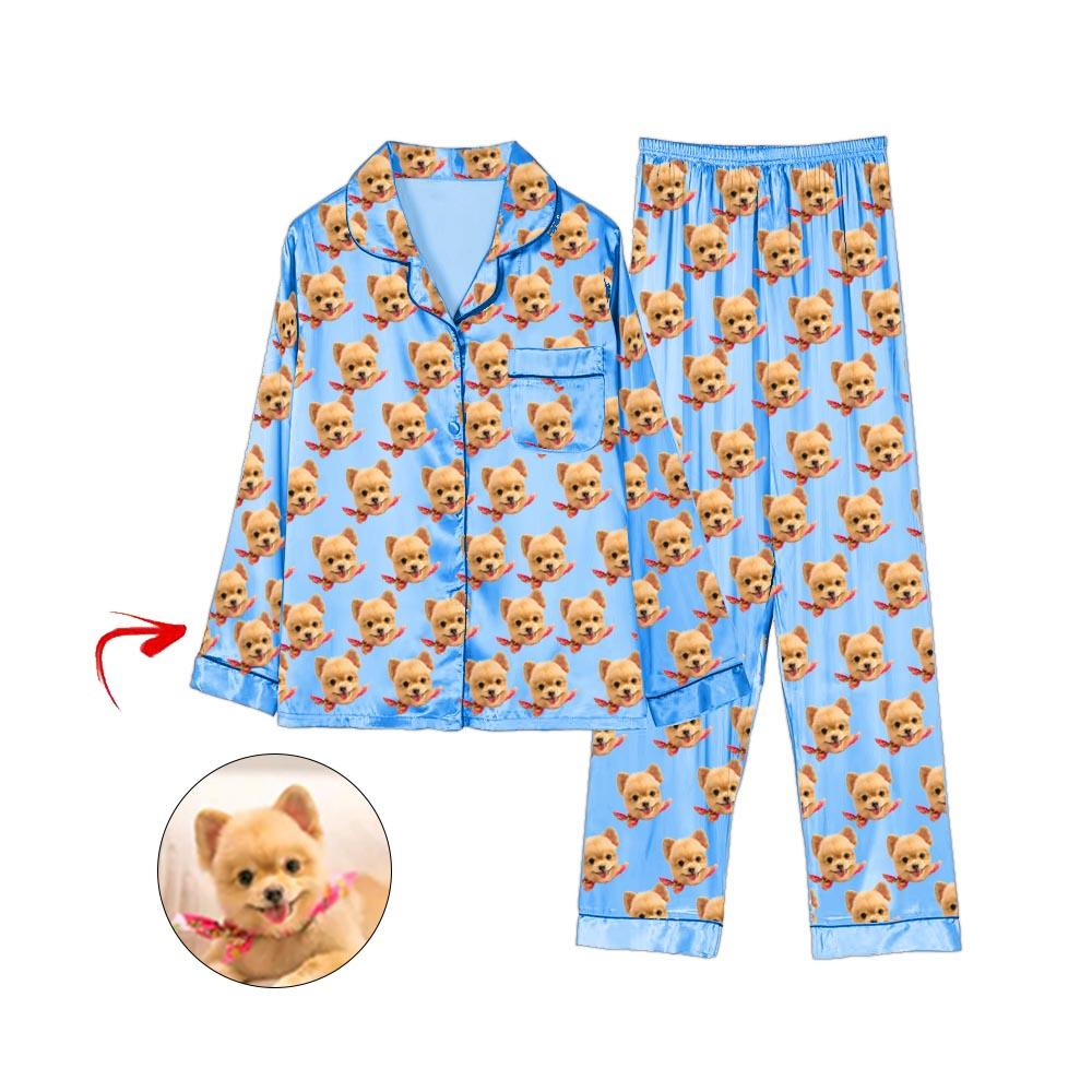Custom Photo Satin Pajamas I Love My Dog Blue