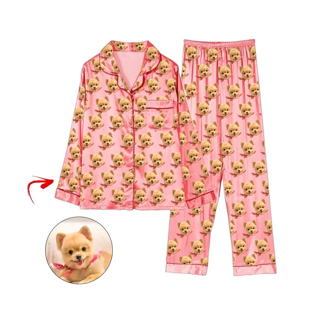 Custom Photo Satin Pajamas I Love My Dog Champagne
