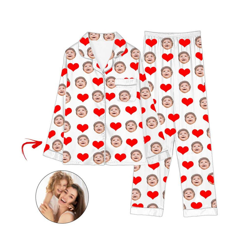 Custom Photo Satin Pajamas Heart I Love My Baby Blue