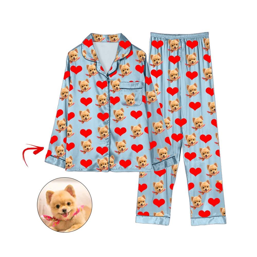 Custom Photo Satin Pajamas Heart I Love My Dog Light Blue