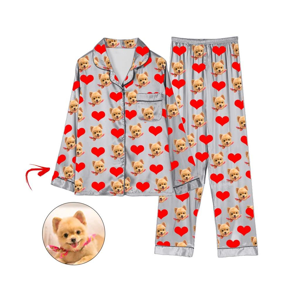 Custom Photo Satin Pajamas Heart I Love My Dog Grey