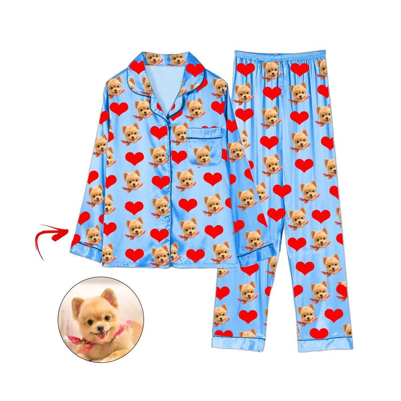 Custom Photo Satin Pajamas Heart I Love My Dog Blue