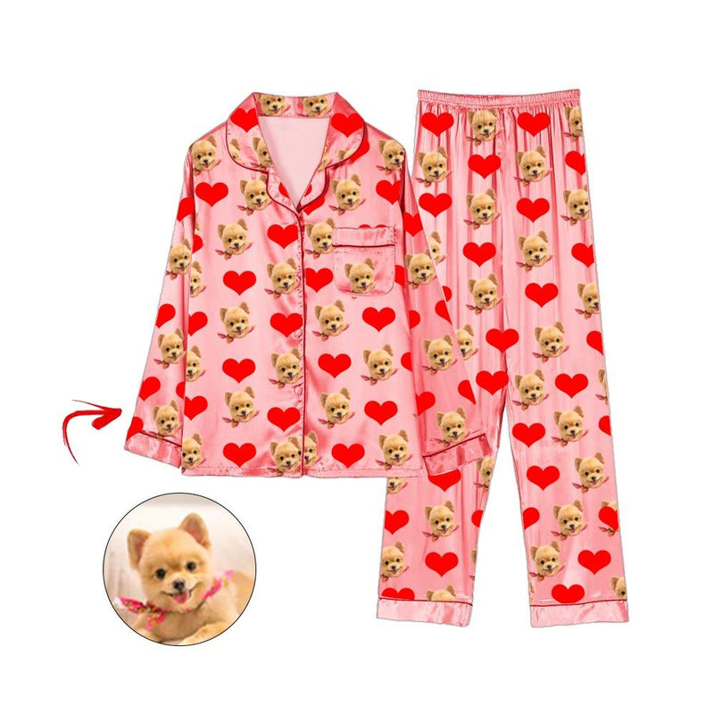 Custom Photo Satin Pajamas Heart I Love My Dog Champagne