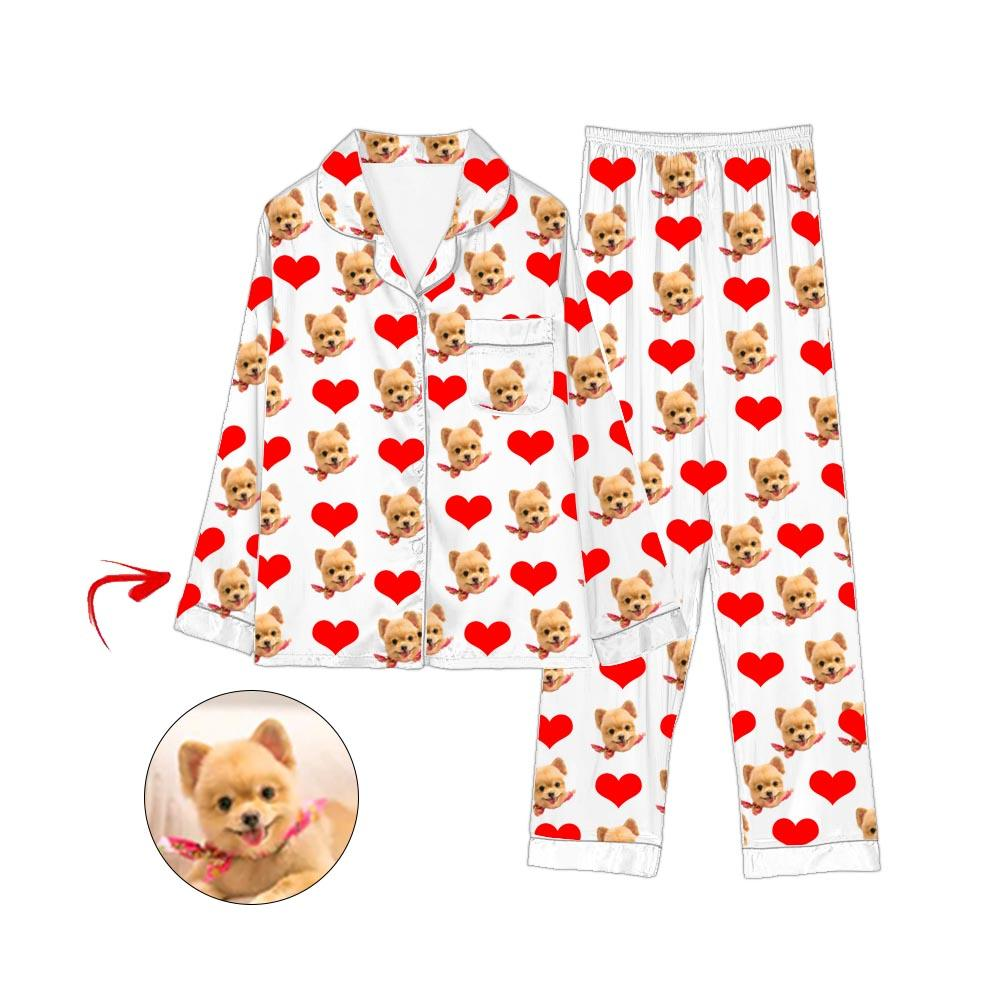 Custom Photo Satin Pajamas Heart I Love My Dog White