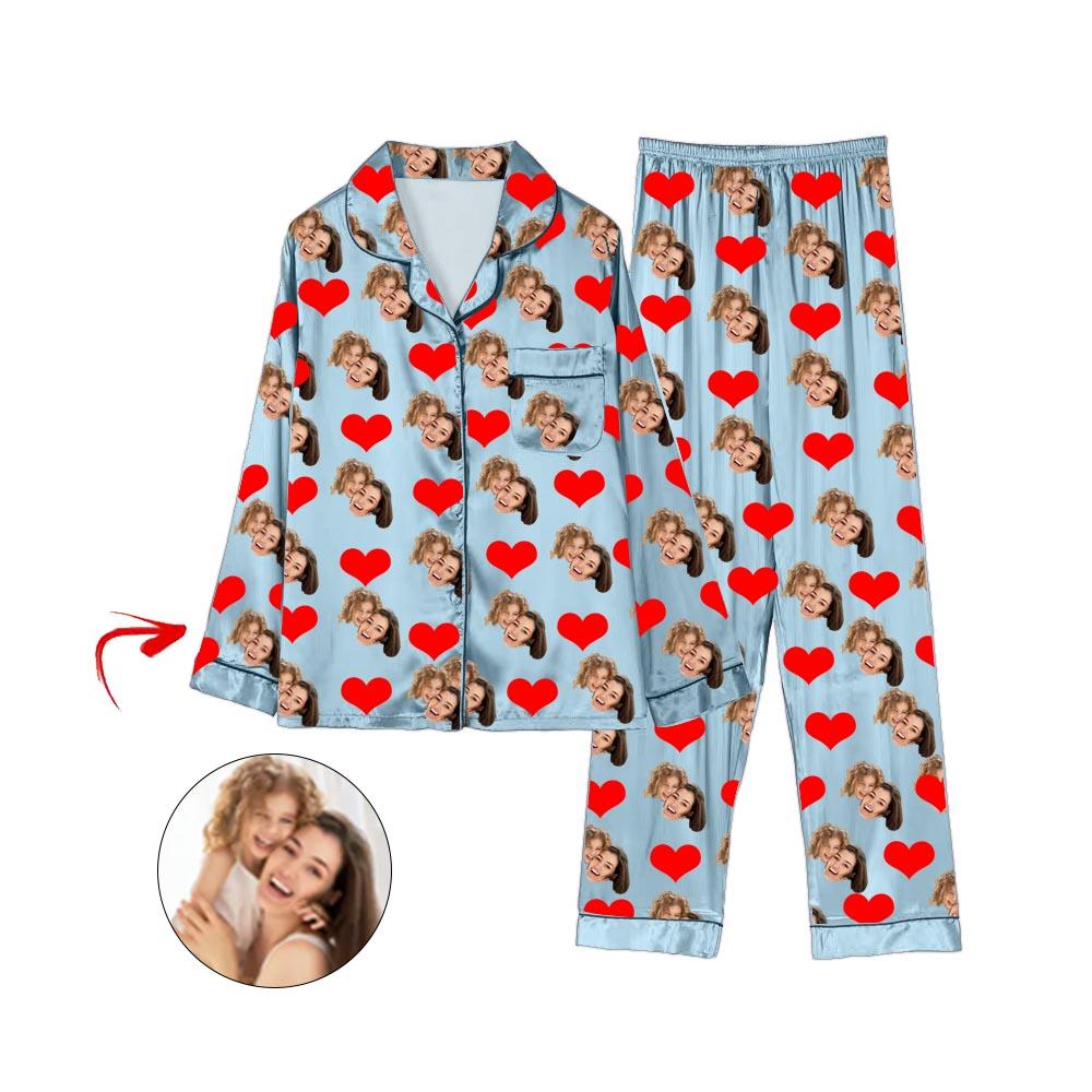 Custom Photo Satin Pajamas Heart Happy Mother's Day Light Blue